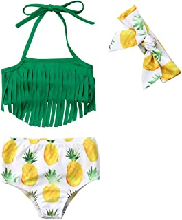 KIDDAD Toddler Baby Girl Watermelon Print Halter Ruffled Tops+Short Pants+Headband 3PCS Swimsuit Outfits Set