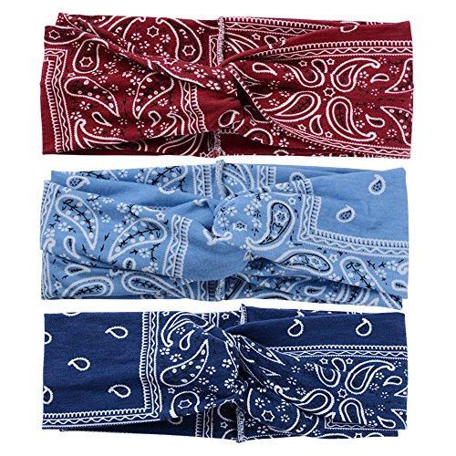SERWOO Lot de 3 Bandeaux Femmes en Style Boho Headbands Vintage Elastique Hair Bande Dot Serré-tête Hair Accessoir en Tissu (Bleu Foncé, Bleu et Vin Rouge)