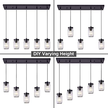 Wellmet Farmhouse Chandelier Glass Mason Jar Adjustable, 5-Lights Dining Room Lighting Fixtures Hanging Rustic Chandeliers wi