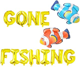 Gone Fishing Balloons, Little Fisherman Birthday Party Banner, O Fish Ally One | The Big One | Gone Fishing Ofishally One Theme Kid Birthday Baby Shower Party Supplies Decoration