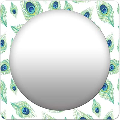 999Store Printed White Peacock Feathers Square Mirror (MDF_23X23 Inch_Multi)