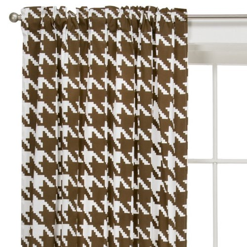 Save %70 Now! Bacati – Metro Houndstooth White/Chocolate Single Curtain Panel