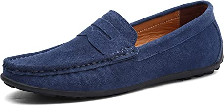 HANBINGPO Men Casual Shoes Fashion Male Shoes Suede Leather Men Loafers Leisure Moccasins Slip On Men's Driving Shoes Large Size 6.5-11