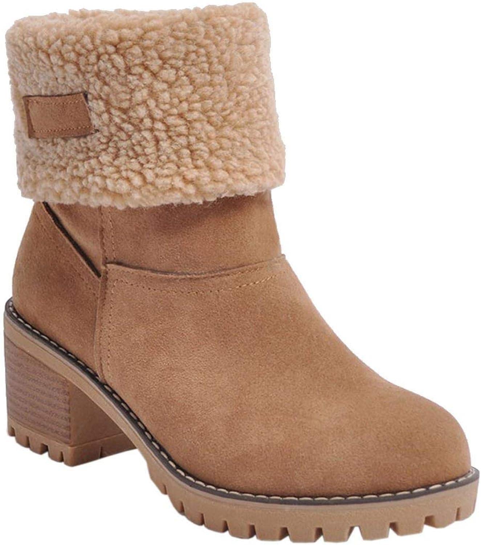 YP-fashion Big Size 34-43 Platform Snow Boots 6 cm High Heels Winter Turned-Over Edge Fur Boots