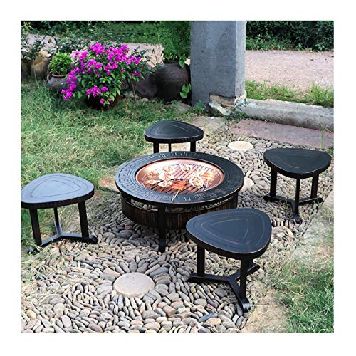Wood Fire Pits Outdoor 32-inch Campfire Pit Stool Set, Wood Burning Fire Bowl, Grill With Mesh Spark Sieve Cover Grate Poker