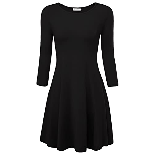 c797cf46301 BaiShengGT Women s Plain 3 4 Sleeve A Line Round Neck Flared Swing Casual  Dress