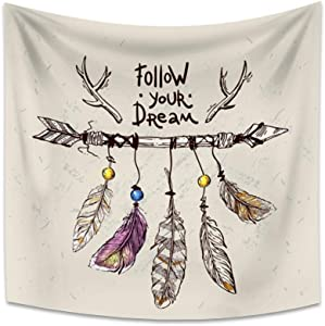 OERJU 29.5x29.5 Inch Dream Catcher Tapestry Follow Your Dream Encourage Theme Special Occasion Quote Dream Catcher Tribal Tool Arrow Feather Background Wall Hanging Home Decor Bedroom