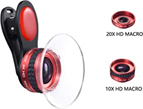 Macro Phone Lens 10X&20X Clip on Macro Lens for iPhone iPad Samsung and All Smartphone with Travel Bag (Red)