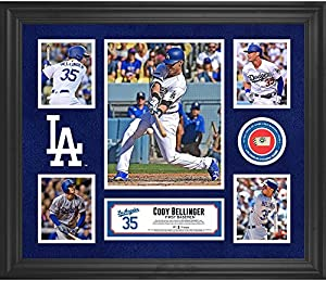 """Cody Bellinger Los Angeles Dodgers Framed 20"""" x 24"""" 5-Photo Collage with a Piece of Game-Used Baseball"""