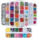 Kalolary 8 cajas Lentejuelas Uñas Decoración Purpurinas Confeti Holográficas de Uñas Nail Art Flakes Glitter Brillos para Manicura y Diseños de Uñas