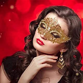 Simsly Gold Masquerade Mask Venetian Crystal Masquerade Prom Party Masks Costumes Party Accessory for Women and Girls
