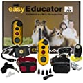 Bundle of 2 Items - E-Collar - EZ-902-1/2 Mile Remote Wireless Rechargeable Waterproof Two Dog Trainer - Static, Vibration and Sound Stimulation Collar with PetsTEK Dog Training Clicker