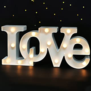 """Bright Zeal 16"""" x 7"""" Large LOVE Bedroom Decor Lights LED Marquee Letters (WHITE) - LOVE Sign For Wall Table - Wedding Decorations Lights For Church Romantic Signs For Home Engagement Party Decorations"""