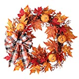 Haute Decor 24 Inch Pre-lit Halloween Pumpkin Plaid Wreath with 30 Warm White Lights and Built-in Timer