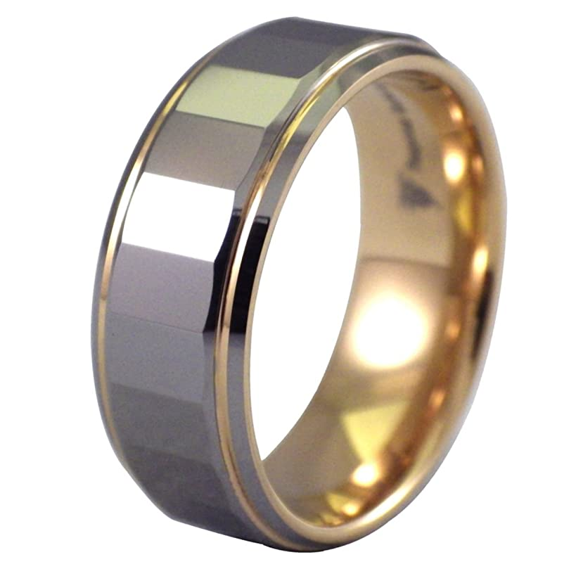 Fantasy Forge Jewelry 18K Gold Plated Mens Tungsten Ring Rectangle Faceted Wedding Band 8mm Sizes 8-15
