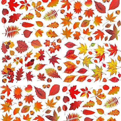 ASZKJ 340 Stücke Thanksgiving Fenster Dekorationen Ahornblätter Fenster Aufkleber Herbstblätter Fensterbilder für Thanksgiving Party Dekor Ornamente