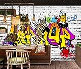 Fotomurali Graffiti del muro di mattoni ottica di pietra di alfabeto 3D Stampato Fotomurale Carta da parati non tessuta Decorazioni per la casa Carta da parati Per tv sfondo muro 350x256 cm