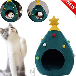 Christmas Tree Cat House - Cat Furniture Idea Cute Cat Cave Bed,Soft Kitty Cat Teepee House Christmas Warm Cat Bed for Winter,Cozy Cat Condo House for Pet Lovers Xmas Gift