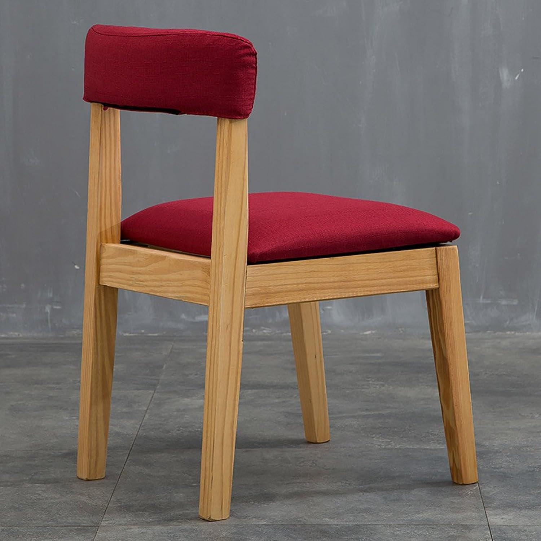 MENA Uk Rückenlehne Designer Stühle Leinen & PU-Leder Max. Tragkraft 220kg Sessel Cafe Esszimmer Kaffee Freizeit Stuhl (Farbe   Dunkelrot, gre   H46cm)