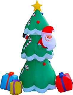 SEASONBLOW 8 Ft Inflatable Christmas Tree Santa Claus Drilling Tree with Gift Box Xmas Decoration for Yard Lawn Garden Home Party Indoor Outdoor