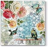 20 servilletas multicolor de la primavera mundo vintage/flores/pájaros/primavera/33 x 33 cm