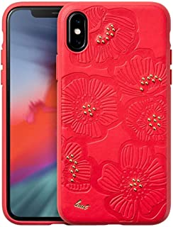 LAUT - Flora for iPhone Xs/iPhone X | Super Soft Faux Leather | Emboss Design | Hard Back Protection (Cherry (Red))