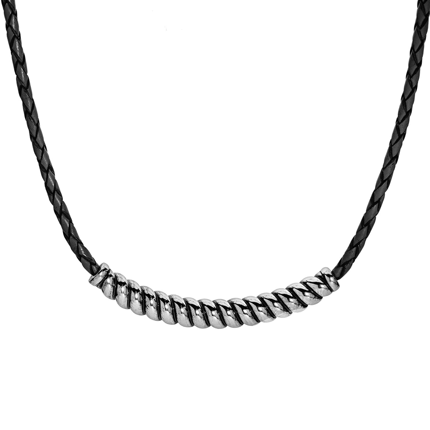 925 sterling silver choker necklace with ebony wood elements