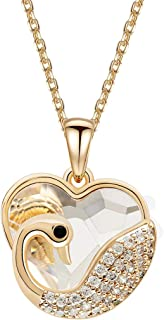"Niumike Heart Shape Swan Pendant Necklace Made of Crystal from Swarovski,15.75""+2"" Elegant Necklace"