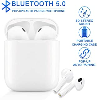 Bluetooth Earbuds 5.0 Built-in Mic Headphones for Phone HiFi Stereo Sound 5-6 Hours Long Playtime Noise Cancelling with Airpods Charging Case