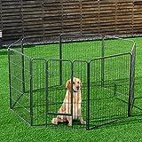COSTWAY Recinto Recinzione Box per Cani Animali Domestici con 8 Pannelli in Metallo, da Interno ed Esterno, per Cani Gatti Conigli