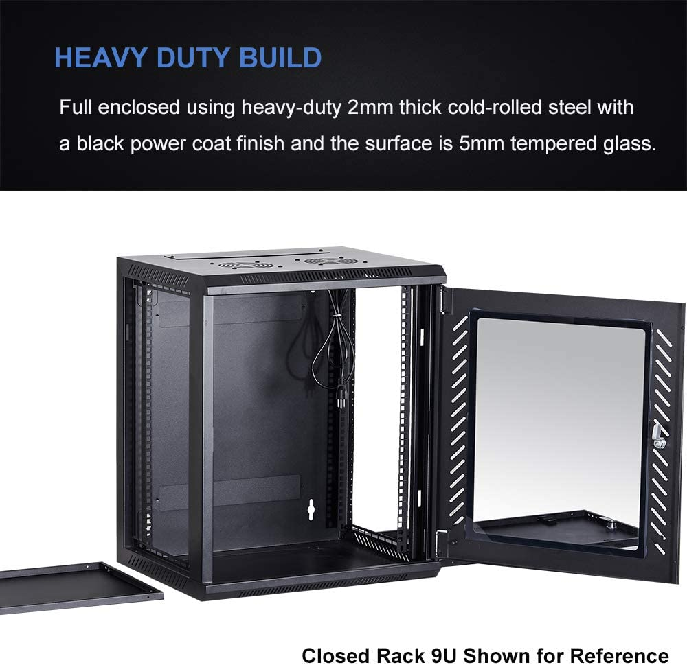 KENUCO [Fully Assembled] Deluxe IT Wall Mount Cabinet | Server Rack | Data Network Enclosure 19-Inch Server Network Rack with Locking Tempered Glass Door (Black 6U)