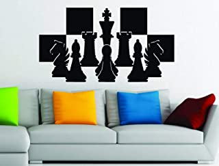 Wall Vinyl Decals Chess Pieces Chessboard Setup Board Game Strategy Vinyl Wall Art Sticker Decal Made in USA