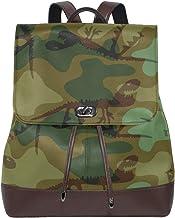 Ahomy Damen Fashion PU Leder Rucksack Camouflage mit Dinosaurier Anti-Diebstahl Rucksack Schultertasche