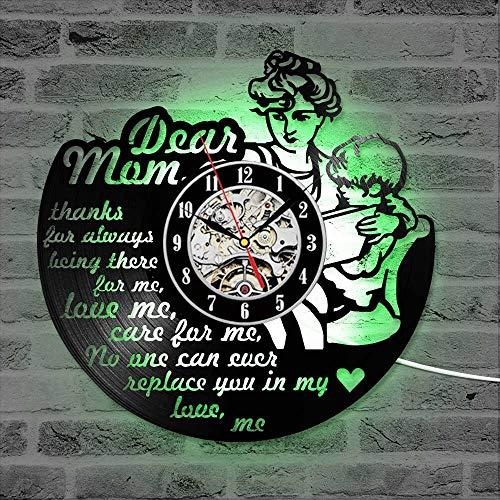 BFMBCHDJ Feliz Día de la Madre Tema Reloj de Pared con Registro de Vinilo Silencioso Reloj LED Decorativo Relojes de Registro Colgantes Hechos a Mano mamá