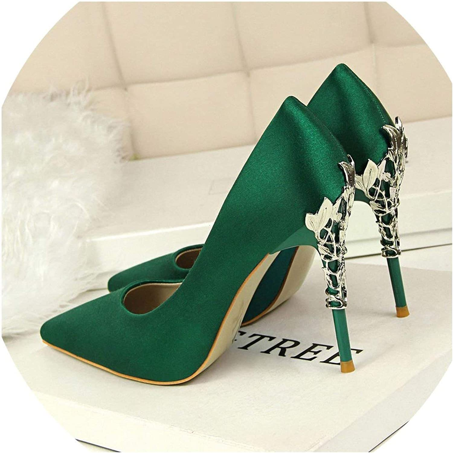Heeled-Sandalselegant Metal Carved Heels Women Pumps 2019 Sexy Silk High Heels 13 color 10Cm shoes Woman Wedding shoes,Green,34