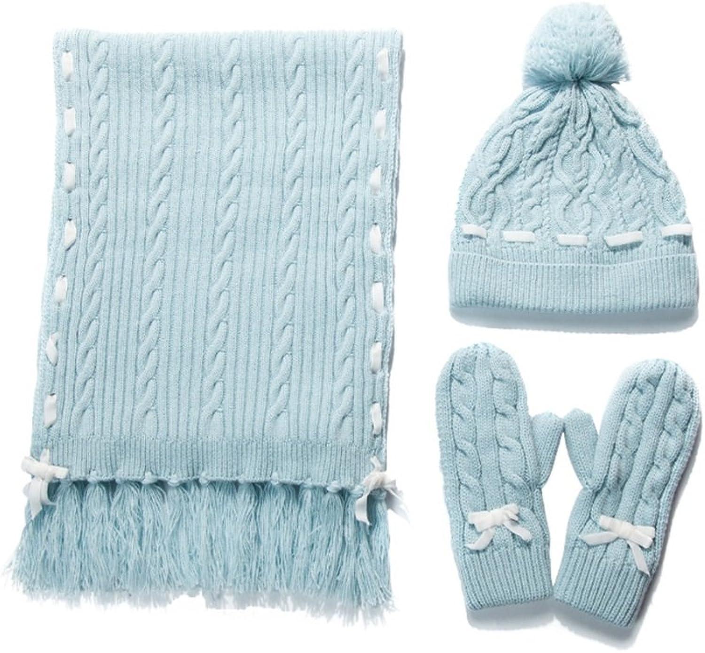 PENGFEI Scarf Winter Hat Mittens Women's Student Pure color, 3 colors 180x32CM (color   bluee)