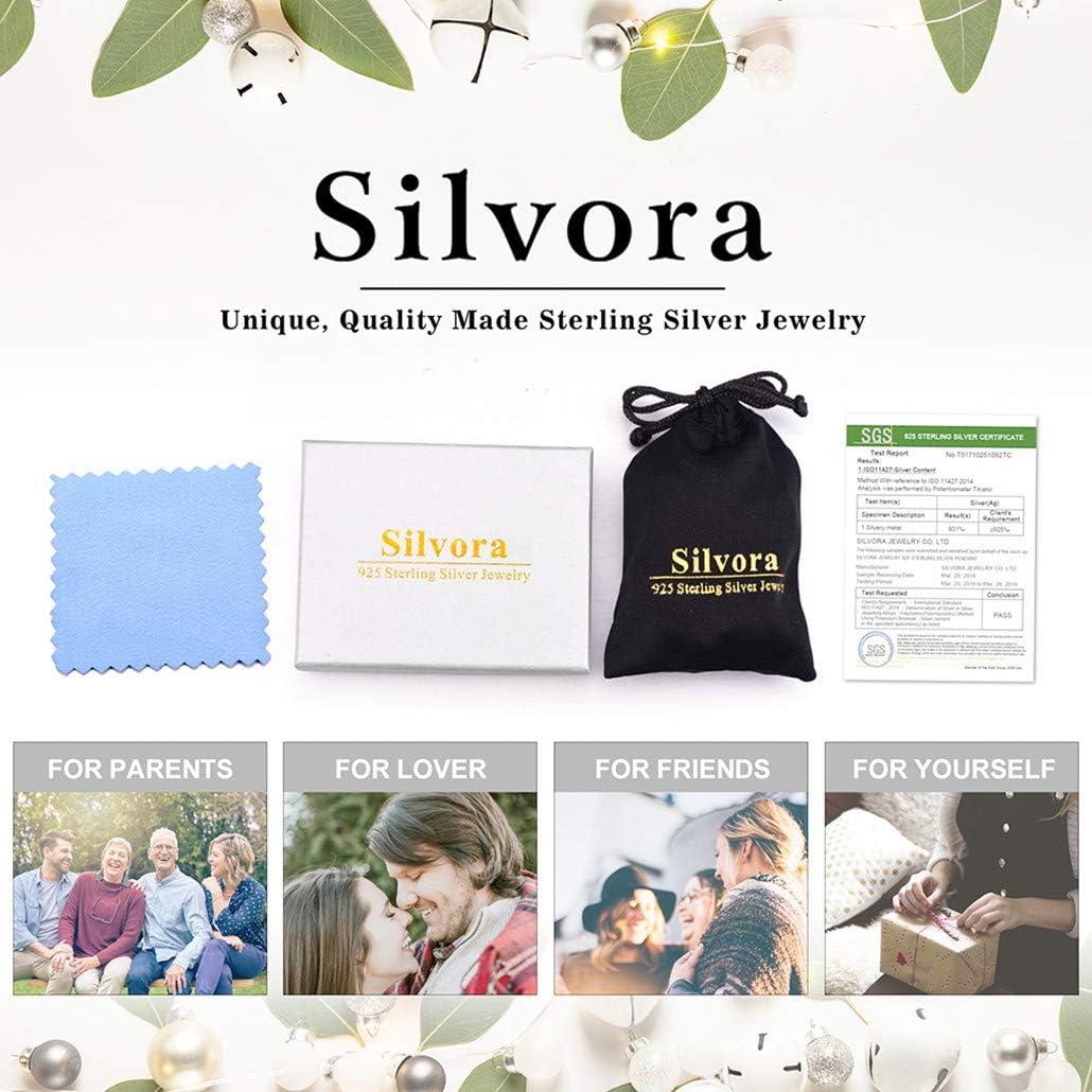 Gift Packaging 12 Months Birthstones Pendant S925 Dainty Love Birthday Valentines Gift for Women//Girls Silvora Sterling Silver Infinite Birthstone Cross Necklace