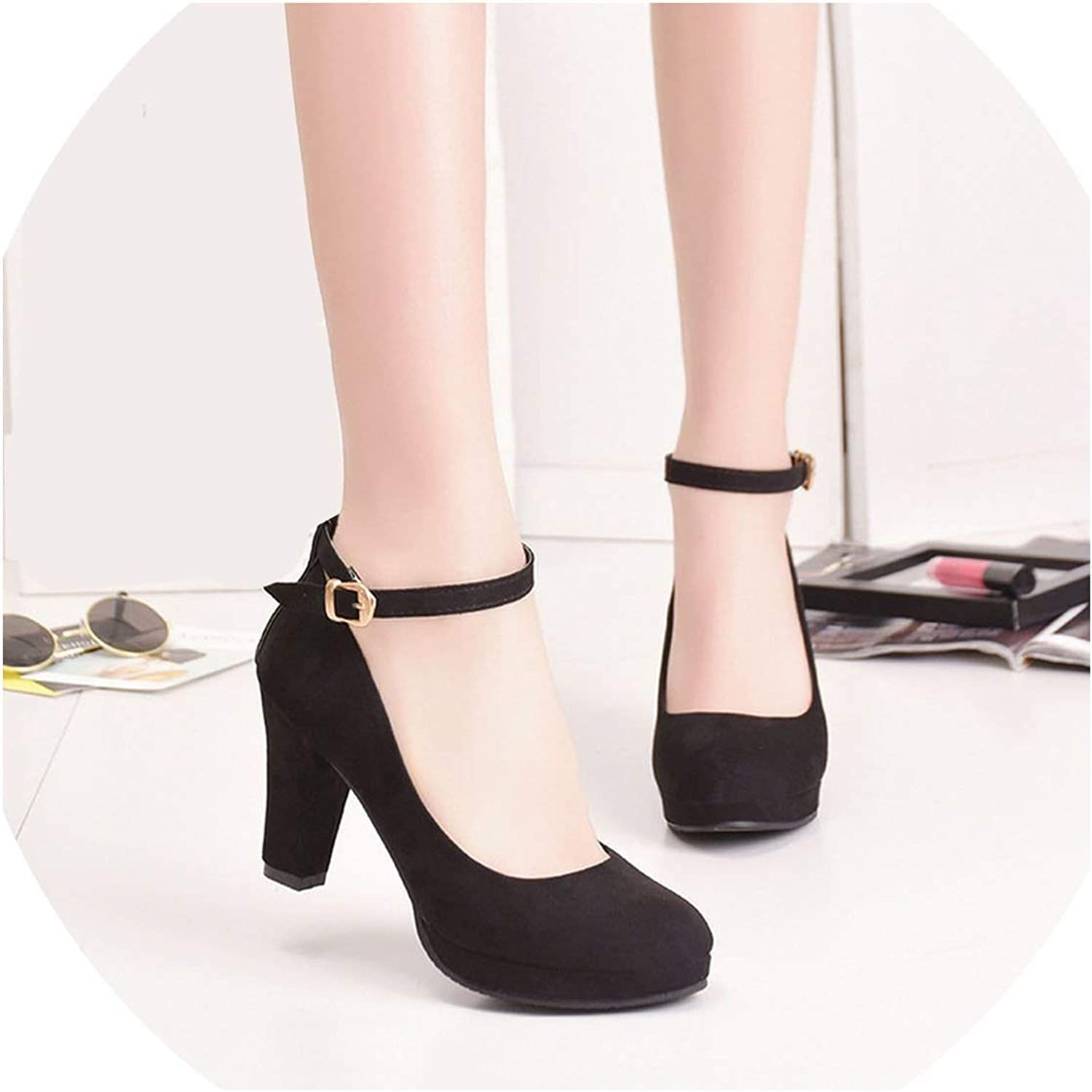 Pleasantlyday Spring shoes Women's High Heels Sexy Flock Pumps Bride Thin Pointed Comfortable