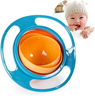 Hughapy Baby Bowl Children Tableware Non Spill Bowl Toy Dishes Universal 360 Rotate Avoid Food Spilling Food Snacks Bowl Lunch Box Children Christmas Gifts (Blue)
