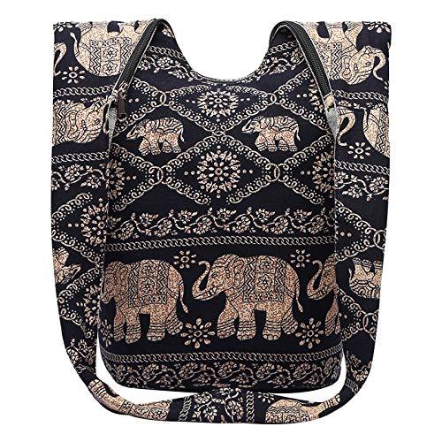 INSOUR Hippie Tasche Schulterbeutel mit Elefantendruck Boho Handtasche Doppelten Stoff