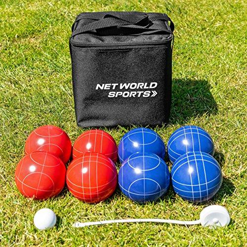 Net World Sports Juego de Bochas/Bolas/Petanca de Calidad Profesional – Incluye Cinta Métrica y Bolsa
