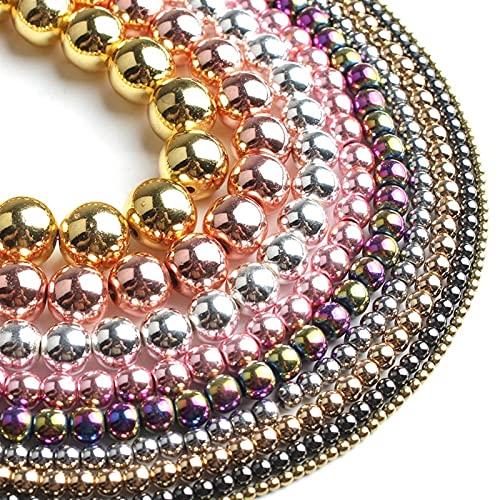 DYKJK Joyería para hacer joyas de hematita natural, oro rosa, chapado en plata, cuentas redondas sueltas para hacer joyas, pulseras de bricolaje de 4 a 10 mm, 15 pulgadas, para pulseras de bricolaje