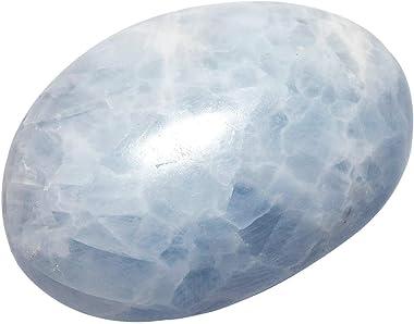 "SUNYIK Blue Celestite Crystal Palm Stones Worry Pocket Stone, Polished Irregular Shaped Sphere Decortarion 1.5""-2.5"""