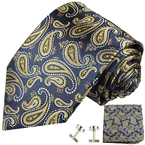 Paul Malone Krawatte blau gold paisley Set 3tlg - 100% Seide - Blaue Seidenkrawatte mit Einstecktuch und Manschettenknöpfe