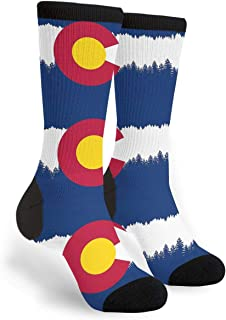 NGFF USA Colorado State Skyline Flag Men Women Casual Crazy Funny Athletic Fancy Novelty Graphic Crew Tube Socks Moisture Wicking Gift