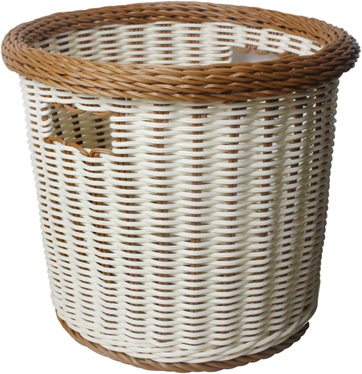 Laundry Hamper Imitation Rattan Bedroom Clothes Storage Basket Plastic color Mixing ZHANGQIANG (Size   36  32.5cm)