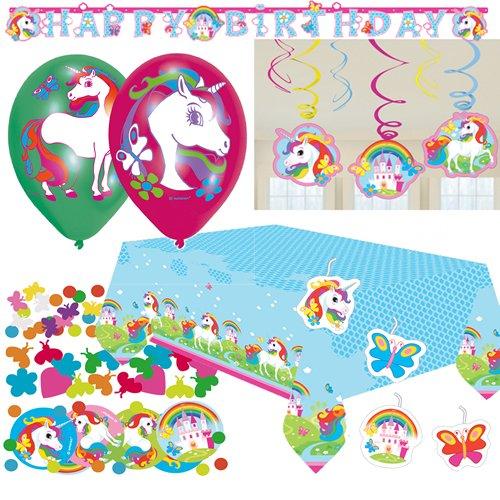 64-delige Decoratieset met eenhoorn, voor kinderverjaardag en themafeest, met tafelkleed, confetti, slinger, ballonnen en luchtslingers, kaarsen, kleur pink Unicorn