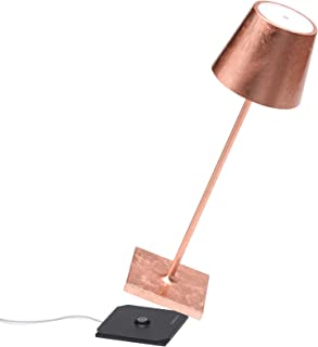 Zafferano Poldina Pro-Lámpara LED de Mesa Regulable de Aluminio, Protección IP54, Uso en Interiores y Exteriores, Estación de Carga de Contacto, Altura 38 cm, Enchufe de la UE, Hojas de Cobre