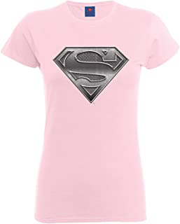 DC Comics Official Superman Steel Plate Logo Womens T-Shirt Camiseta para Mujer