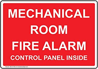 Mechanical Room Fire Alarm Control Panel Inside Label Decal, 5x3.5 in. 4-Pack Vinyl for Fire Safety/Equipment by ComplianceSigns